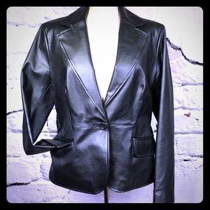 Worthington cropped leather jacket black, pockets